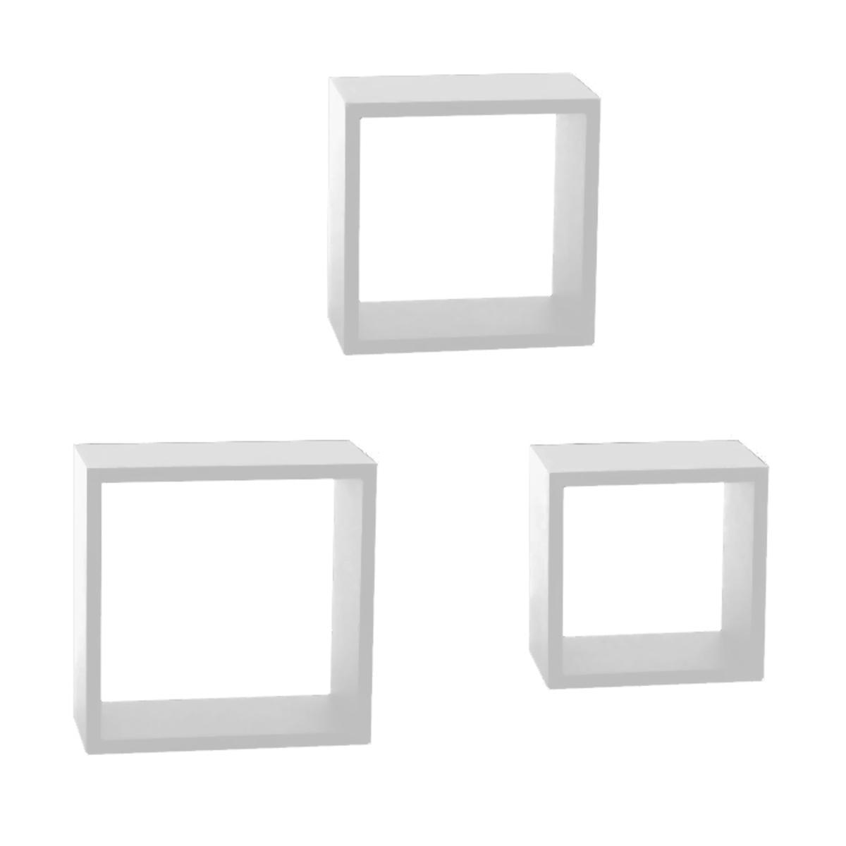 etagere murale 3 cubes blanc