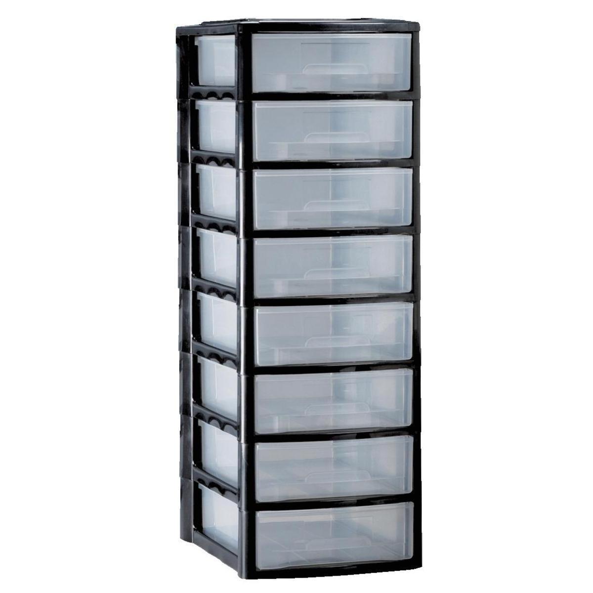 tour de rangement a4 10 tiroirs noir