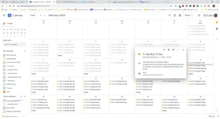 Google Astro Calendar Desktop