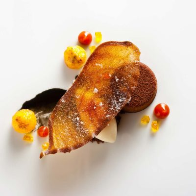 Banana and Chocolate dessert prepared by Daniel Humm, Executive Chef of Eleven Madison Park in NYC.