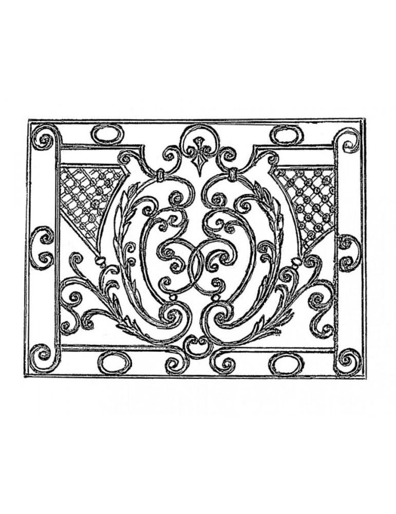 panneau decoratif 1200 x 900 section 16x8 acier fer forge lisse ref