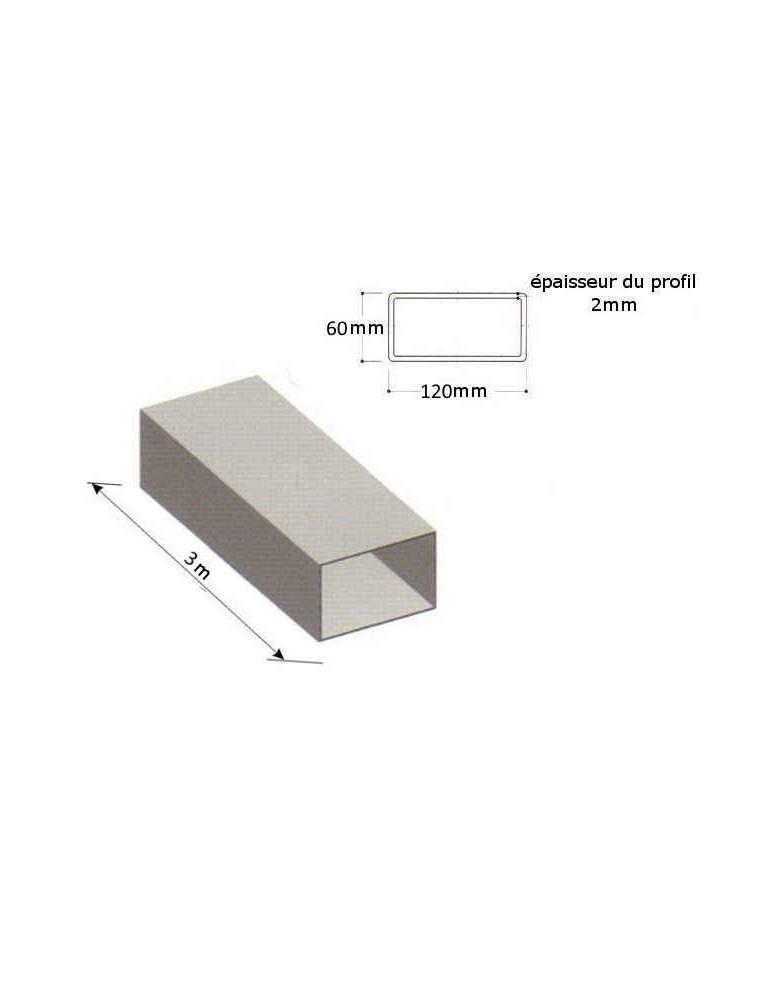 tube acier galvanise rectangulaire longueur 3000 section 120x60x2 ref bb0801263 3