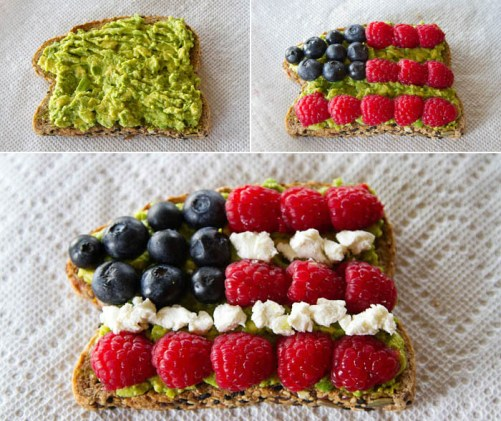 Red White & Blue Avocado Toast red white and blue Breakfast