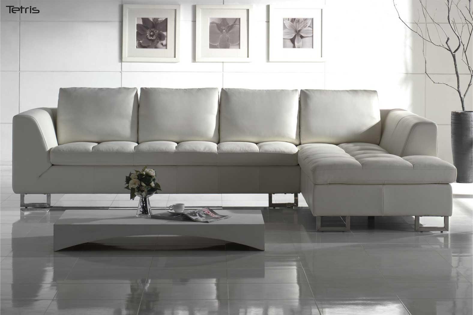 My red leather chair had faded to a colorless gray. White Leather Sectional Sofa - Blending Contemporary ...