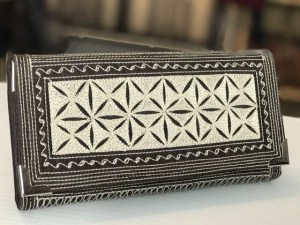uang large fold handmade wallet dark brown cream