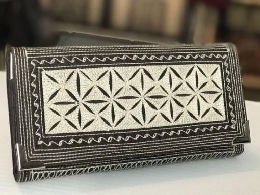 uang large fold handmade wallet dark brown cream