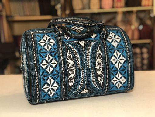 rajin handmade handbag by Laga in black blue and white