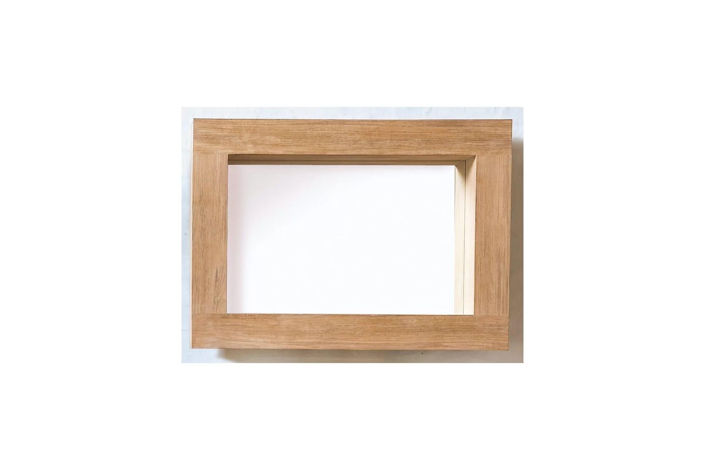 Miroir En Teck Pour La Salle De Bains Avec Encadrement Profond
