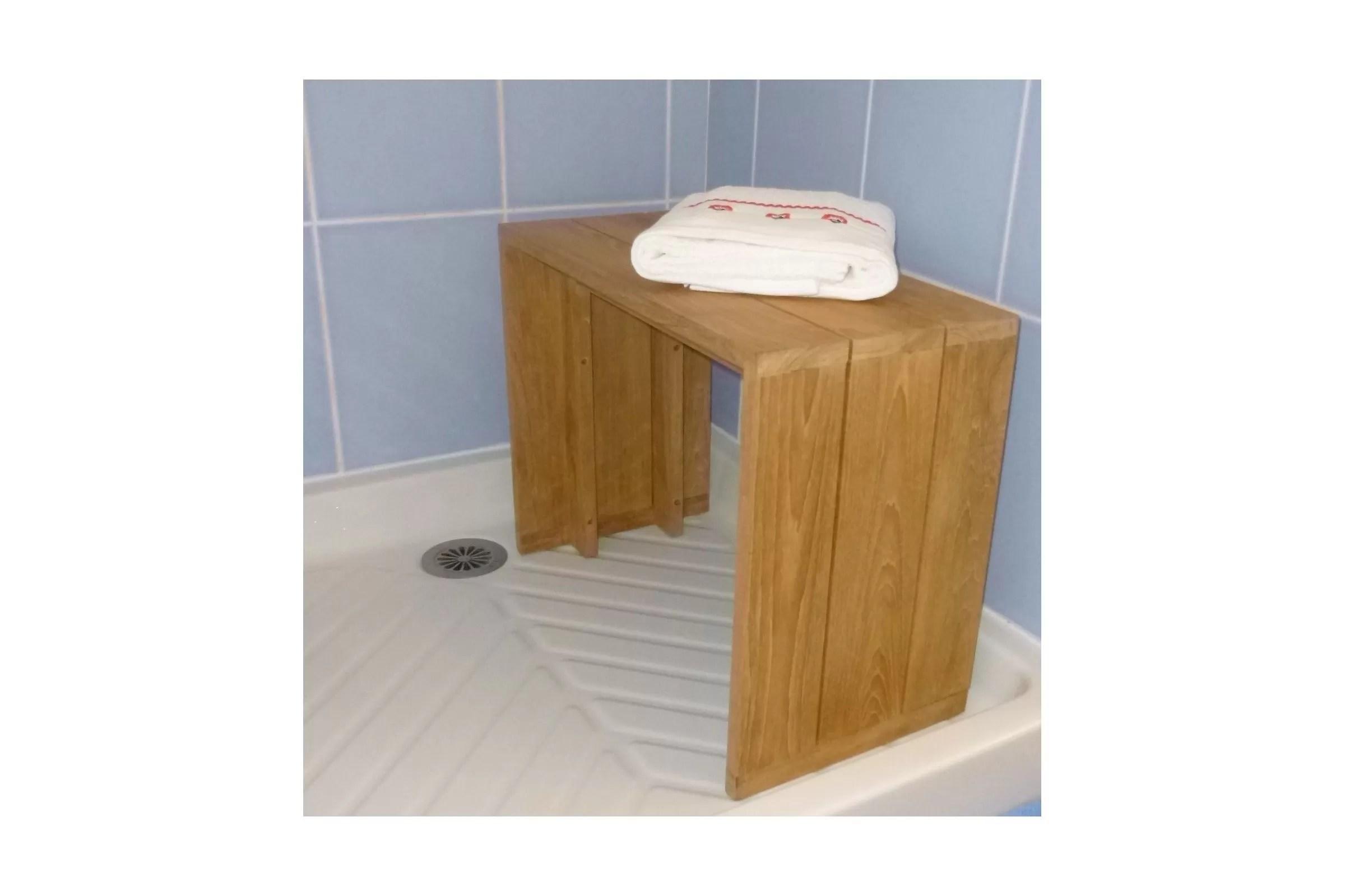 banc teck massif pour salle de bains 60 cm