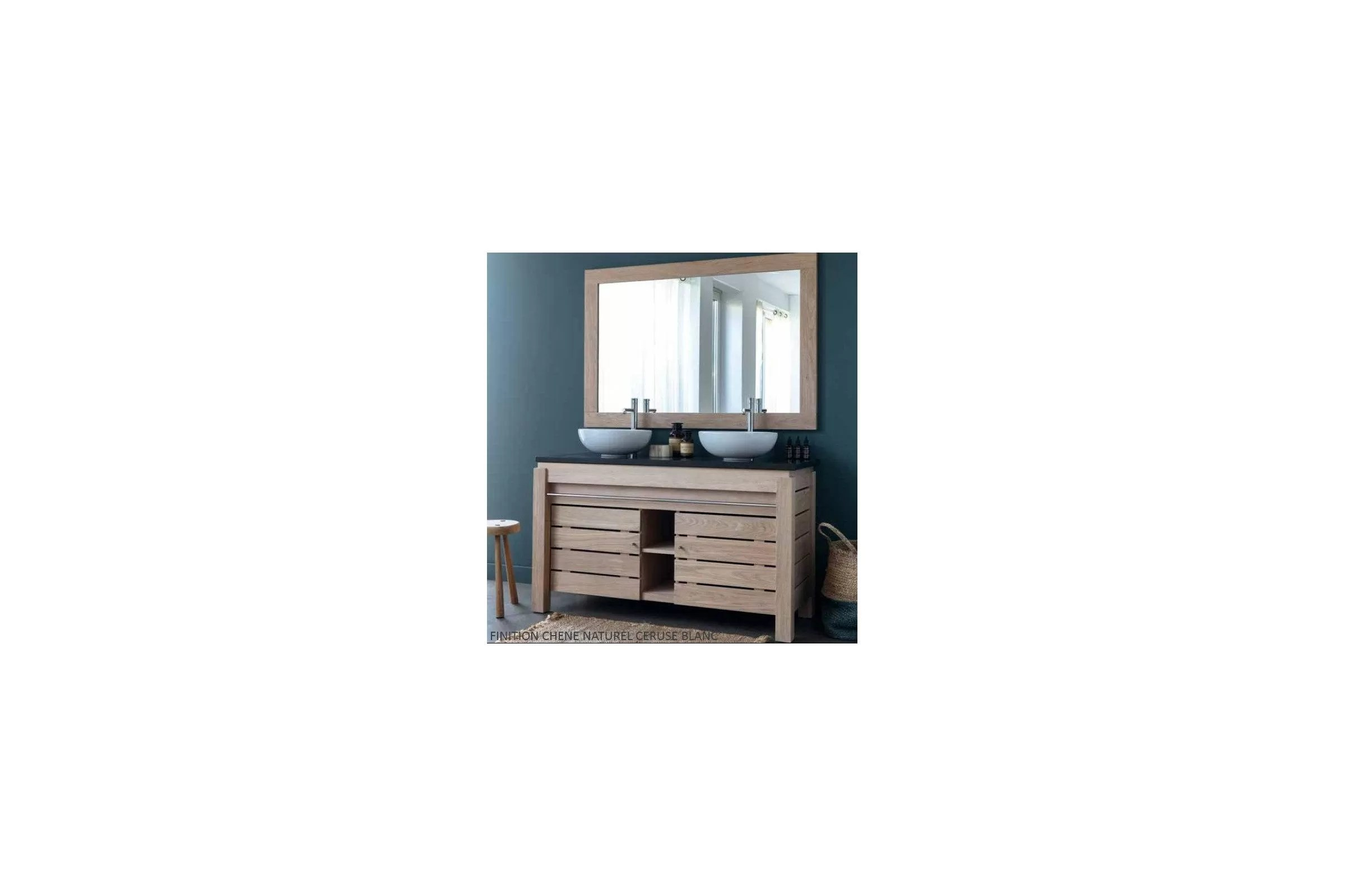 meuble double vasque en chene massif 133 cm 2 portes line art origin
