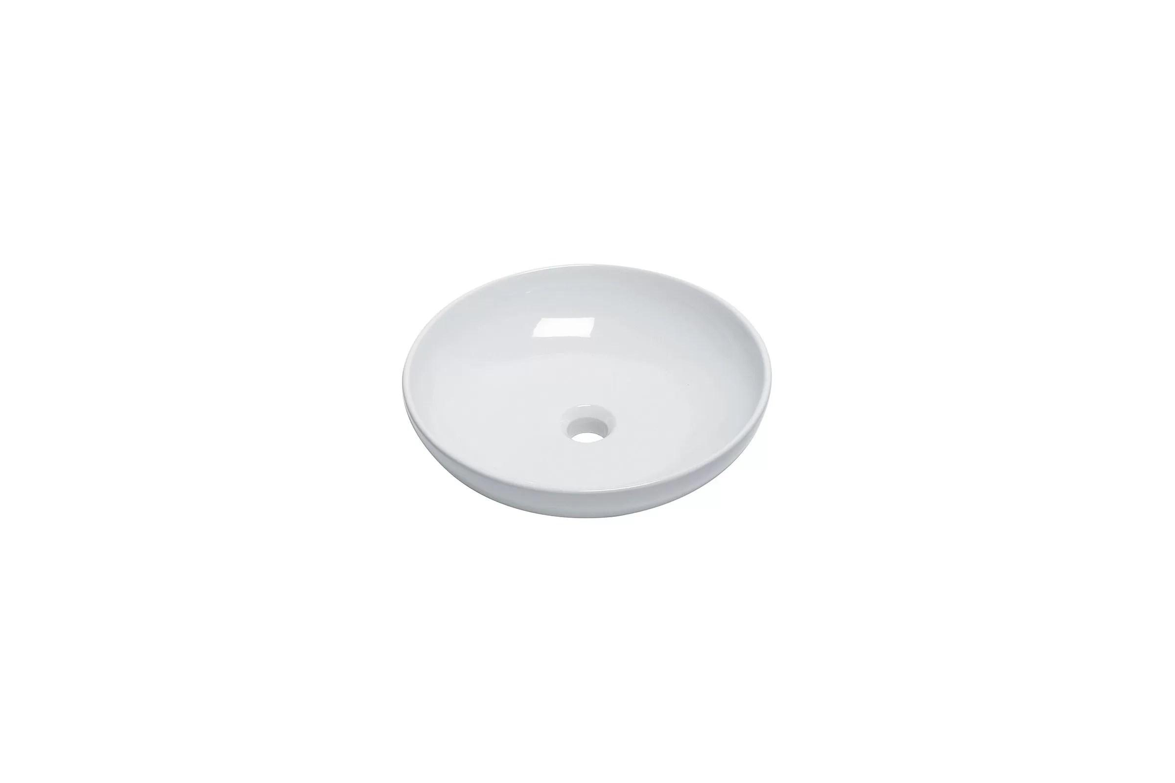 Vasque A Poser Ronde 46 Cm En Ceramique Blanche Modele Tondo