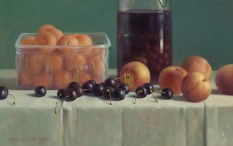 Henk Helmantel, Still Life with cherries, peaches and apricots, 1989, oil on panel, 31 x 48 cm