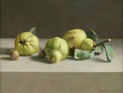 Henk Helmantel, Quinces and medlars, 2012, oil on panel, 43 x 55 cm