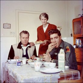 Elvis, his father Vernon, and his grandmother Minnie Mae, 1959
