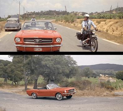 La Ford Mustang dans le Gendarme de Saint Tropez en 1964.