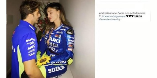 Andrea Iannone e Belen Rodriguez su Instagram.