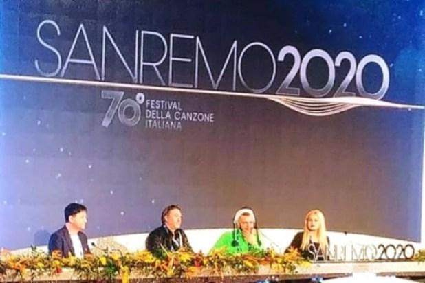 Marco Sentieri alla conferenza stampa di presentazione del Festival di Sanremo 2020
