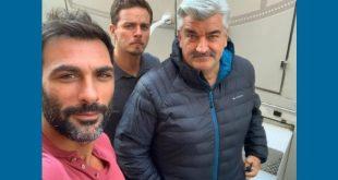 Francesco Arca, Arturo Muselli e Antonio Milo sul set a Napoli. Foto da Instagram