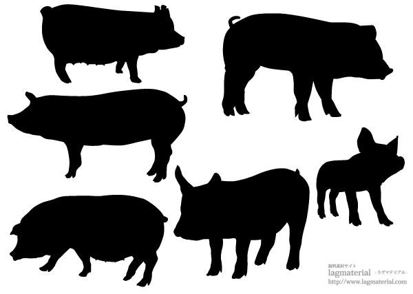 豚のシルエット素材