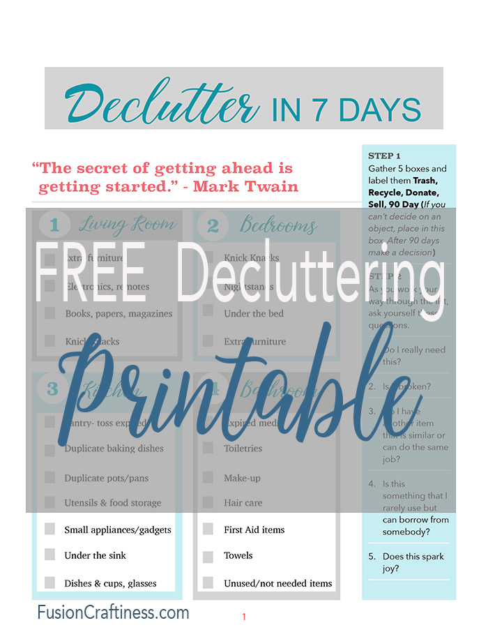 Free Printable for decluttering.