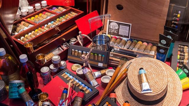 Paint supplies in a heap.