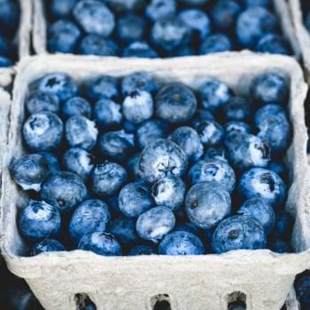 A basket full of blueberries.