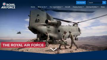 RAF website homepage