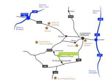 Plan du gîte location de vacances la grange des puys à Beaune le chaud à 15mns de Clermont-Ferrand en Auvergne