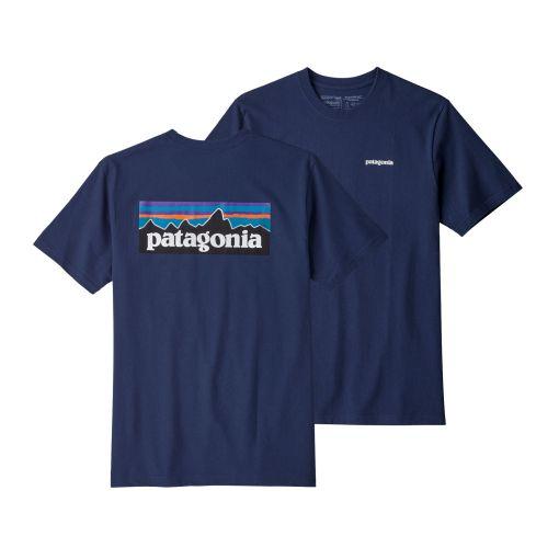 t shirt homme bleu marine patagonia coton recyclé et polyester recyclé