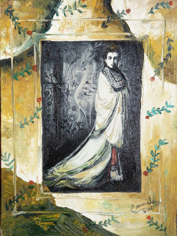 Óleo sobre lienzo titulado Oriental 2006 16x22 cm. Pintada por Esmeralda