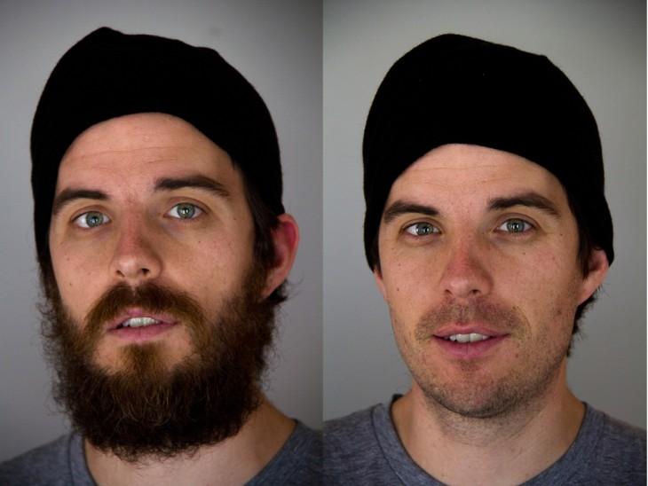 Comparación de rostro con barba y sin barba