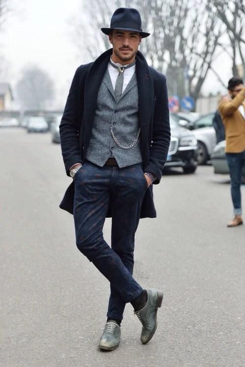 abrigo azul gris para hombre