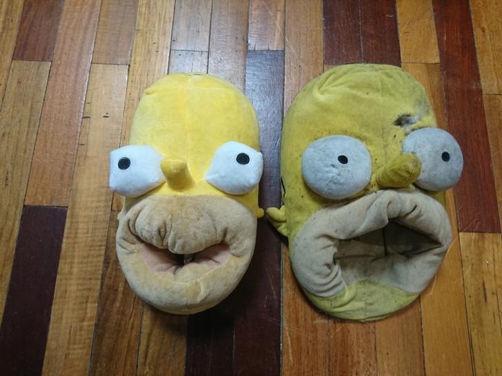antes y después pantuflas