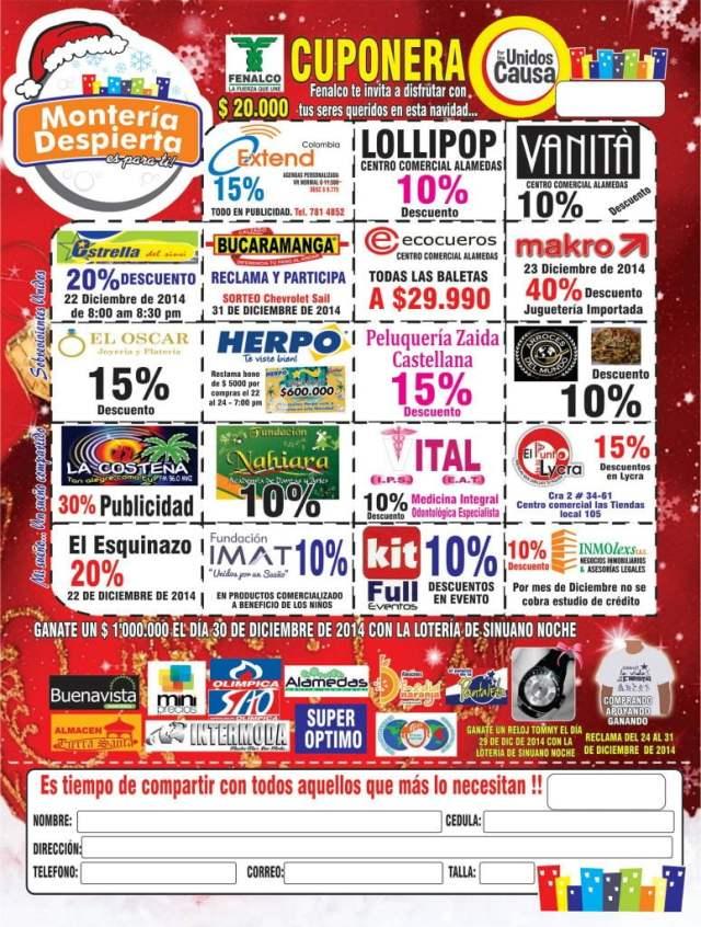 cuponera de la guía de monteria y fenalco para la jornada de monteria depierta 2014 - turismo y hoteles en monteria