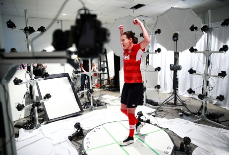 BURNABY, BC: APRIL 1, 2015 - The Canadian Women's Soccer Team visits the EA MOCAP facility at EA Canada in Burnaby, BC April 1, 2015 in Vancouver, Canada. Photo by Jeff Vinnick/EA