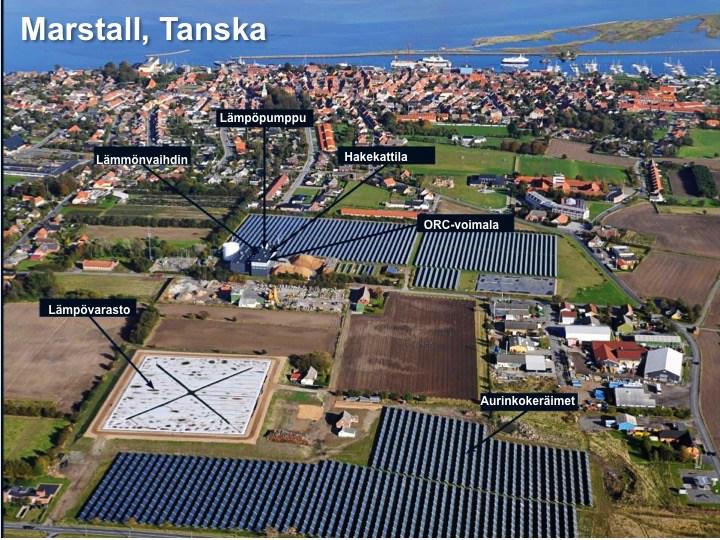 Marstallin hybridivoimalassa on 15,000 neliömetriä aurinkolämpökeräimiä, 4 MW:n biovoimala yhdistettynä sähköä tuottavaan ORC-voimalaan, 1,5 MW:n lämpöpumppu sekä 75 000 kuution lämpövarasto.