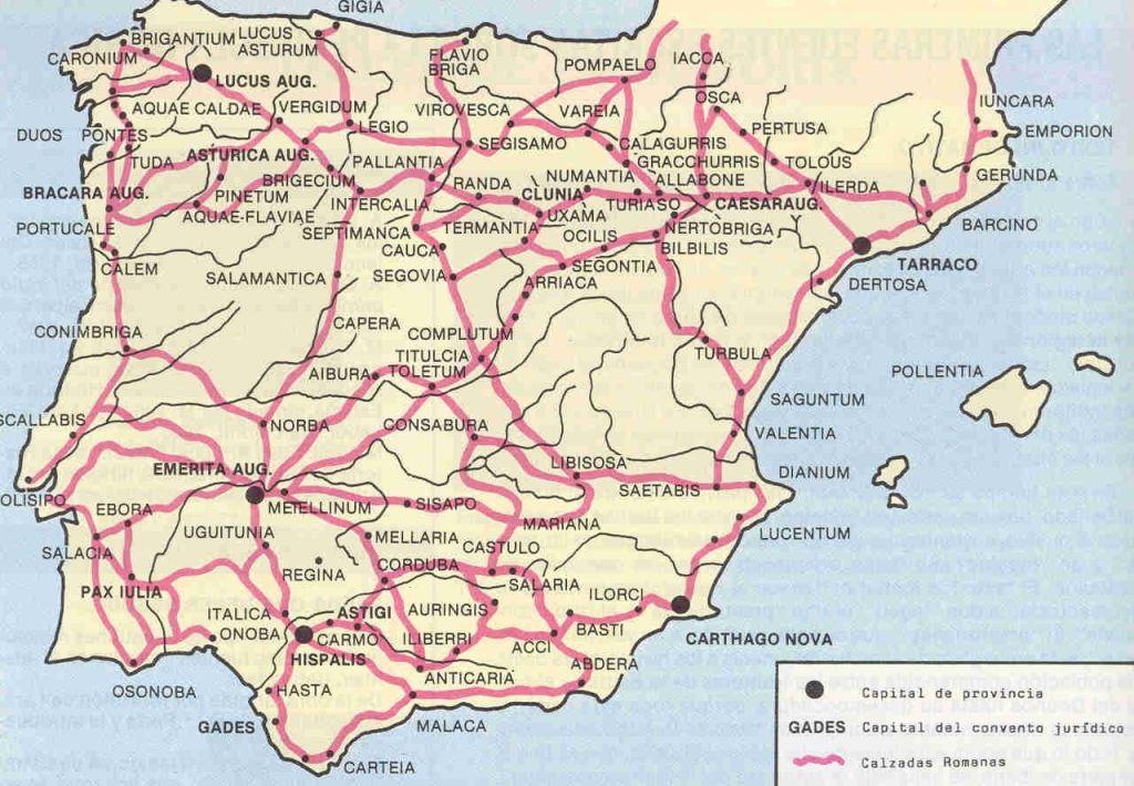 Ciudades y calzadas romanas de Hispania