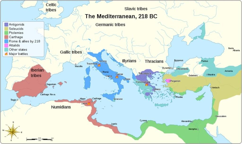Mapa inicial de la segunda guerra púnica