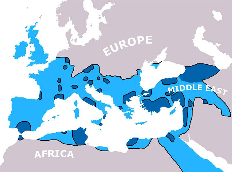 Propagación del cristianismo en los años 325 y 600