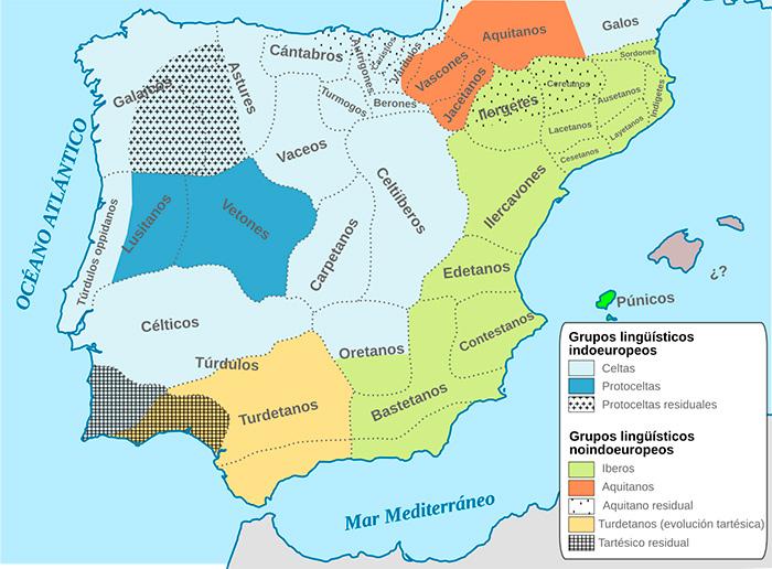 Mapa etnolingüístico de la península ibérica en época prerromana