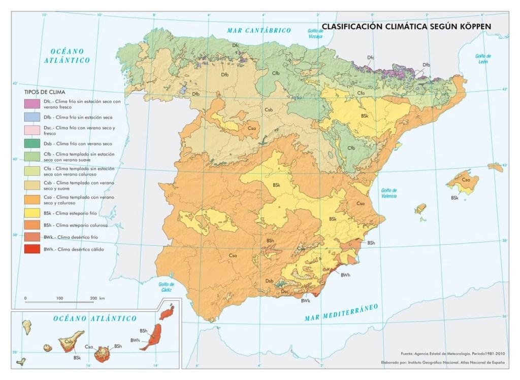 tipos de clima peninsula iberica