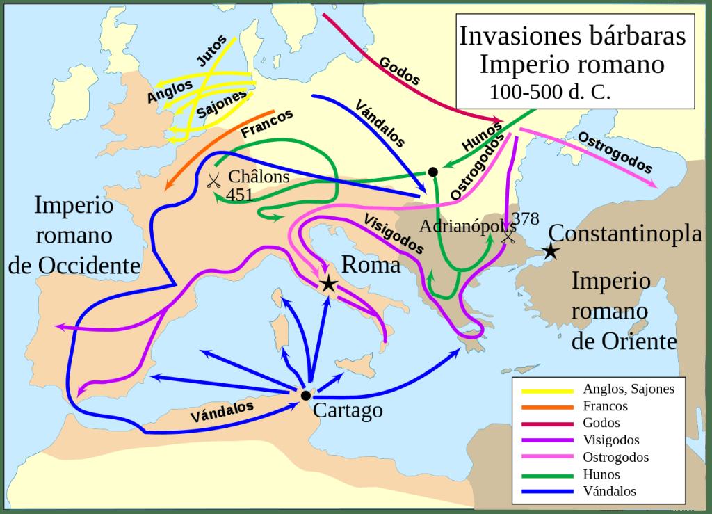 Mapa invasiones migraciones bárbaras hacia el Imperio romano