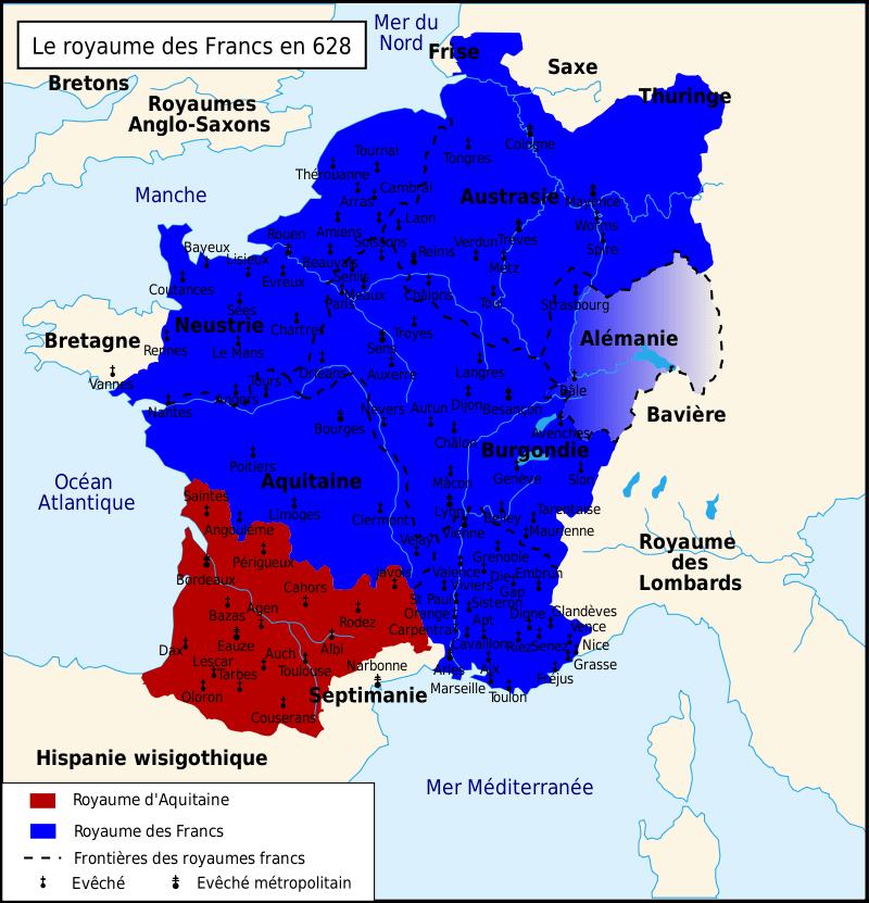 Mapa del reino de los francos bajo Dagoberto