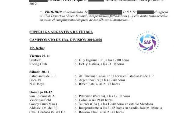 La AFA acata medida solicitada por el Ministerio Público de la Defensa de Salta y le prohíbe a un hincha de Boca el ingreso a la cancha