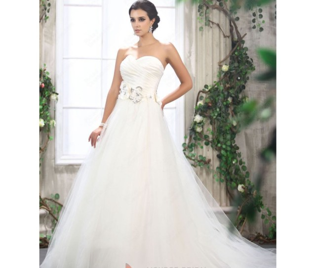 Monica Sweetheart Tulle Ballgown Wedding Dress With Flowers