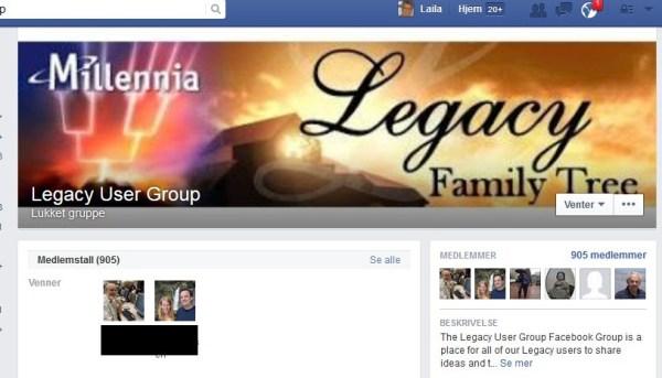 Legacy User Group på Facebook! | Slekt og Slikt