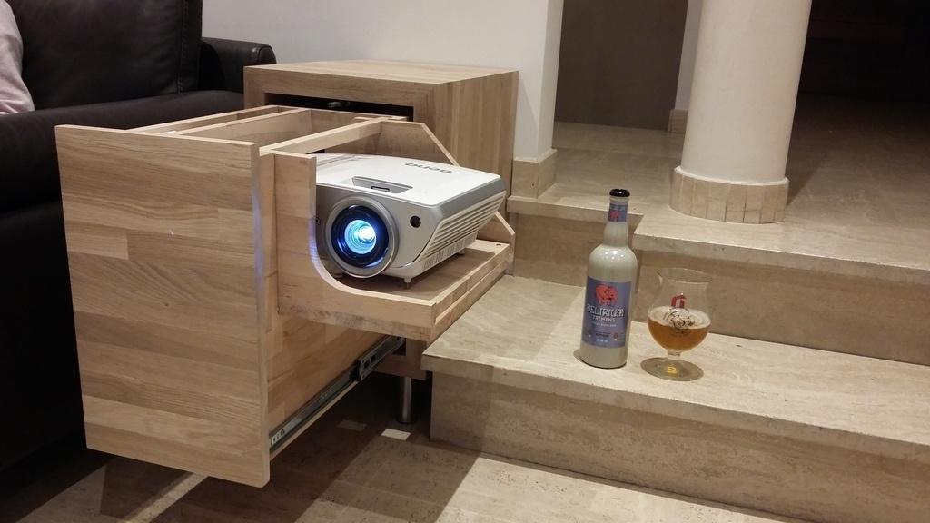 meuble pour video projecteur en chene