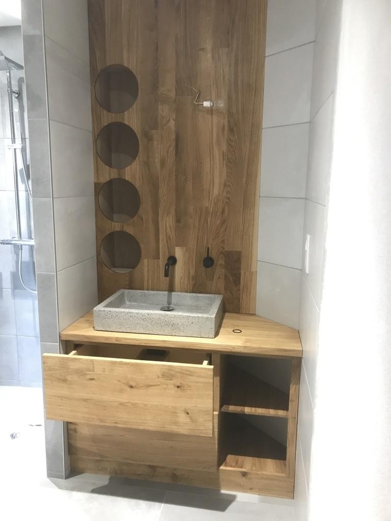 meuble d angle salle de bain en chene