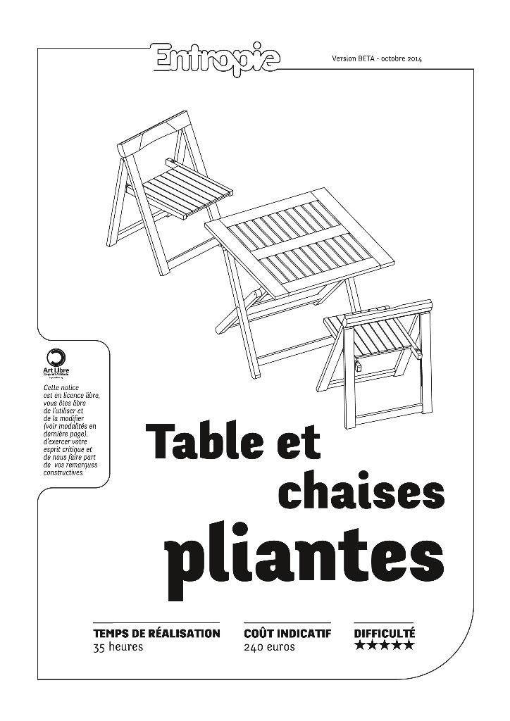 tables et chaises pliantes entropie par