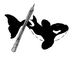 Logotipo clásico en blanco y negro de la Isla de los delfines.